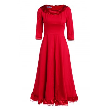 Vintage Solid Color Round Collar Flounced 3/4 Sleeve Dress For Women - M M