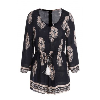 Casual Women's V-Neck Flare Sleeve Printed Romper