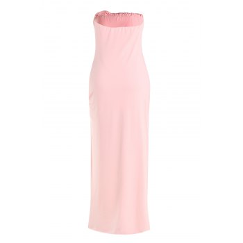 Sexy Strapless Sleeveless Solid Color Asymmetrical Women's Dress - L L