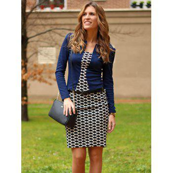 OL Style Argyle Round Collar Long Sleeve Faux Twinset Dress For Women - PURPLISH BLUE M