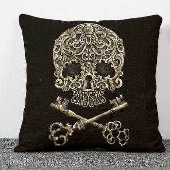 Chic Skull Key Pattern Square Shape Flax Pillowcase (Without Pillow Inner)