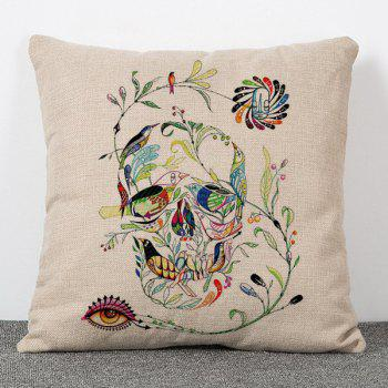 Chic Skull Shape Leaves Birds Pattern Square Shape Flax Pillowcase (Without Pillow Inner)