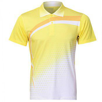 Turn Down Collar Quick Dry Badminton Training T-Shirt For Men