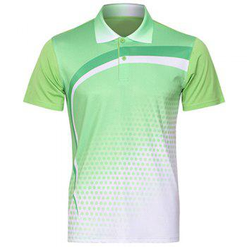 Buy Turn Collar Quick Dry Badminton Training T-Shirt Men GREEN