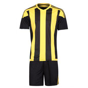 Buy Men's Striped Sports Style Football Training Jersey Set (T-Shirt+Shorts) YELLOW/BLACK