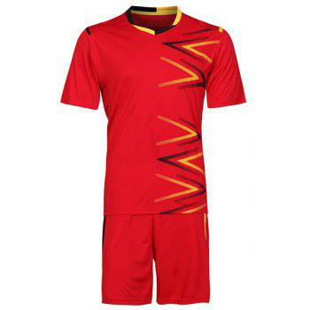Men's Sports Style Splicing Football Training Jersey Set (T-Shirt+Shorts)