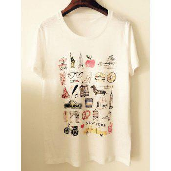 Stylish Women's Scoop Neck Short Sleeves Print T-Shirt