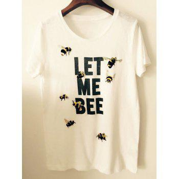 Stylish Women's Scoop Neck Short Sleeve Bee T-Shirt