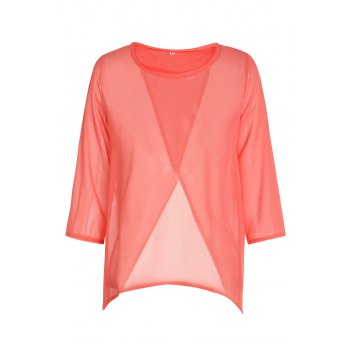 Stylish Round Neck 3/4 Sleeve Furcal Solid Color Women's Chiffon Blouse