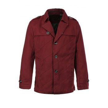 Men's Casual Slimming Solid Collar Single Breasted Turn Down Collar Trench Coat
