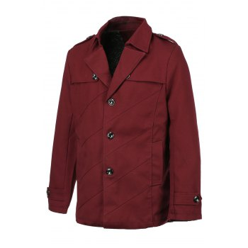 Casual Minceur solide collier Hommes unique poitrine Turn Down Collar Trench Coat - Rouge vineux 2XL