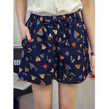 Plus Size Trendy High Waisted Wide Leg Floral Print Women's Shorts