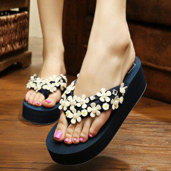 Leisure Faux Pearls and Appliques Design Women's Slippers - DEEP BLUE DEEP BLUE