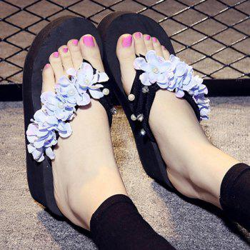 Casual Flowers and Rhinestones Design Women's Slippers - 38 38
