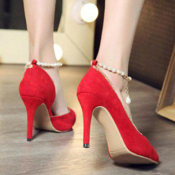 Elegant Solid Color and Beading Design Women's Pumps - RED 37