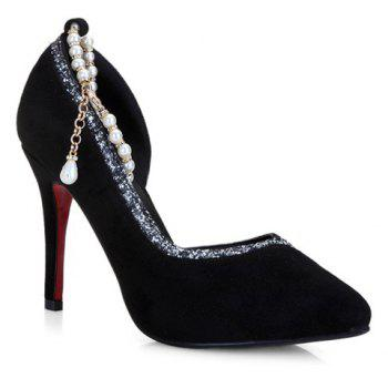 Elegant Solid Color and Beading Design Women's Pumps