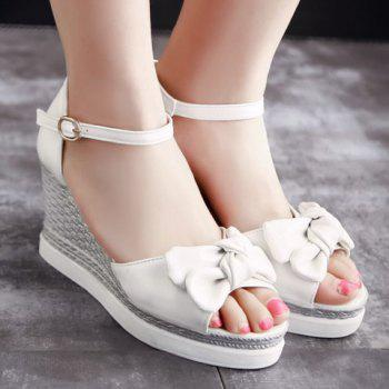 Fashionable Bowknot and Wedge Heel Design Women's Sandals - WHITE 36