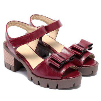 Ladylike  and Bowknot Design Women's Sandals - WINE RED 38