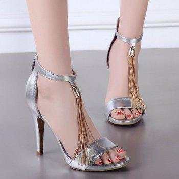 Elegant Solid Color and Tassels Design Women's Sandals - SILVER 36