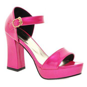 Fashion Patent Leather and Chunky Heel Design Women's Sandals