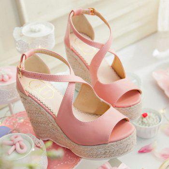 Fashionable Peep Toe and Cross Straps Design Women's Sandals - PINK 38