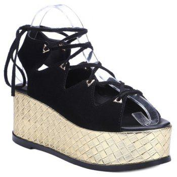 Rome Black Color and Lace-Up Design Women's Sandals