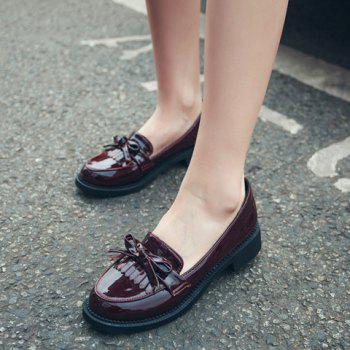 Bow Embellish Slip On Shoes - WINE RED WINE RED