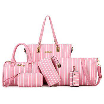 Fashionable PU Leather and Striped Design Women's Shoulder Bag