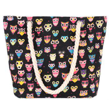Owl Print and Canvas Design Beach Shoulder Bag