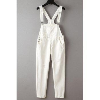 Stylish Destroy Wash Solid Color Button Embellished Women's Jumpsuit