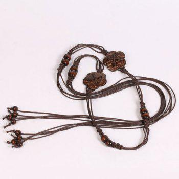 Elegant Wooden Beads Flower Decorated Handmade Knitted Waist Belt For Women - COFFEE