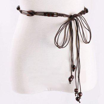 Elegant Multilayer Wooden Beads Decorated Knitted Waist Belt For Women