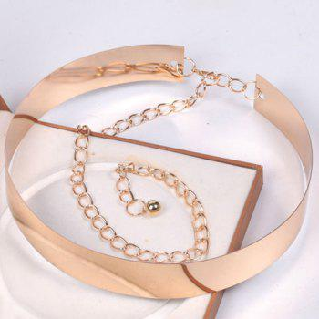 Elegant Rectangle High Polish Alloy Wide Waist Belt For Women