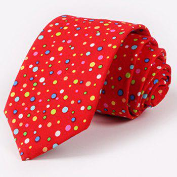One Set Men's Stylish Multicolor Polka Dots Pattern Tie and Handkerchief - RED