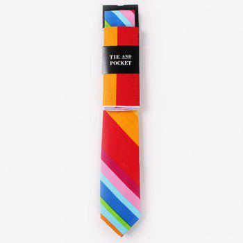 One Set Men's Stylish Multicolor Stripes Pattern Tie and Handkerchief