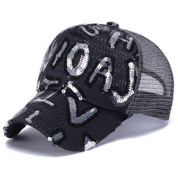Chic Letter Shape Sequins Embellished Breathable Net Women's Baseball Cap