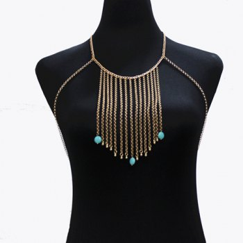 Buy Faux Turquoise Tassels Bikini Body Chain GOLDEN