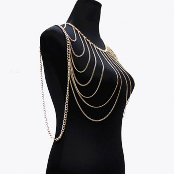 Gorgeous Multilayer Tassel Solid Color Body Chain For Women -  GOLDEN