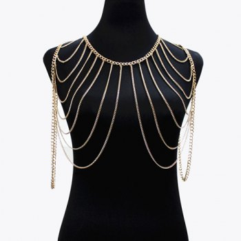 Gorgeous Multilayer Tassel Solid Color Body Chain For Women - GOLDEN GOLDEN