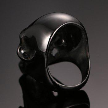 Titanium Steel Hollow Out Skull Ring - BLACK ONE-SIZE