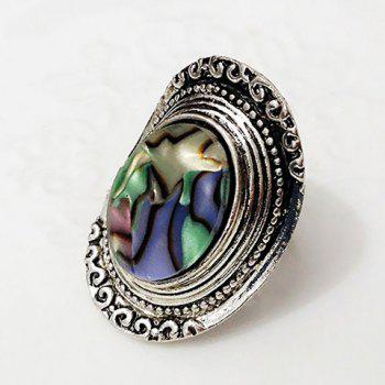 Embossed Faux Gem Alloy Ring - SILVER