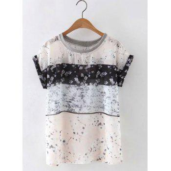 Cute Short Sleeves Round Neck Floral Print Women's Blouse - APRICOT APRICOT