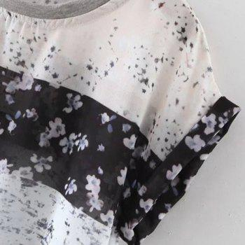 Cute Short Sleeves Round Neck Floral Print Women's Blouse - APRICOT L
