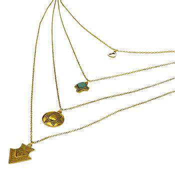 Gorgeous Multilayer Faux Turquoise Rhinestone Sun Sweater Chain For Women - GOLDEN