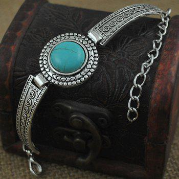 Embossed Faux Turquoise Alloy Bracelet - SILVER