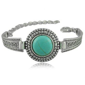 Embossed Faux Turquoise Alloy Bracelet