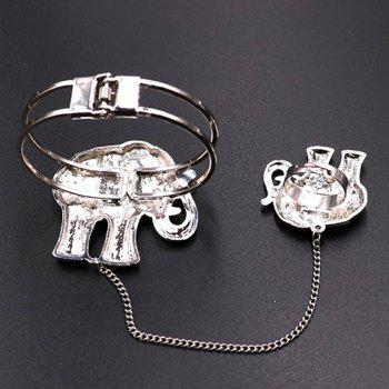 Embossed Elephant Bracelet with Ring - SILVER