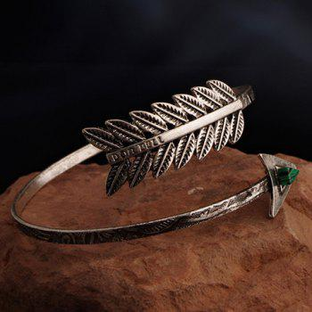 Faux Gem Leaf Arrow Bracelet - SILVER