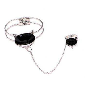 Cartoon Fox Faux Gem Bracelet with Ring