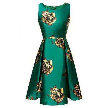 Vintage Round Neck Sleeveless Floral Print Flared Women's Dress